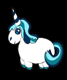 unicorn clipart blue pony cute fluffy anim - Unicorn Pics