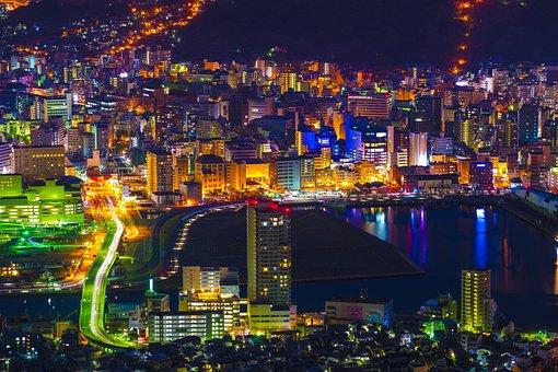 Night View Nagasaki Japan Kyushu The World