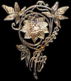 Flower, Brooch, Aged Gold, Metal