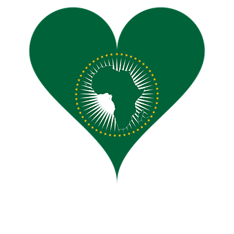 Love Flag African Union Heart Africa Afric