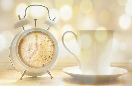 アラームクロック, コーヒーカップ, コーヒー, コーヒーのダイヤル