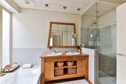 Badezimmer Holzmöbel Dusche Moderne Badewa