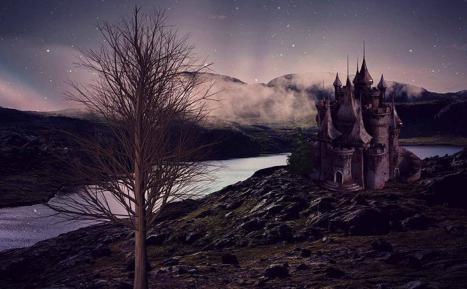 Castello, Paesaggio, Lago, River, Fortezza, Costruzione