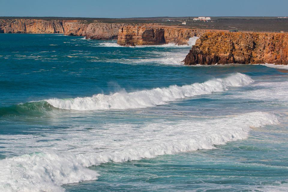 Portugália, Algarve, Cabo Sao Vicente, Hullám, Tengeren