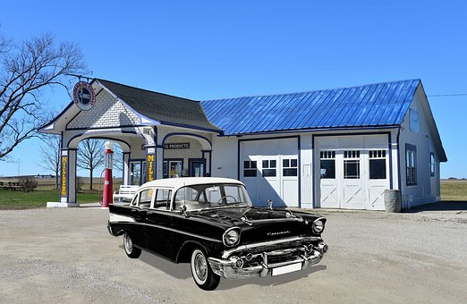Old Gas Station, Chevrolet, Isolated