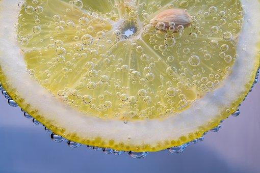 Slice Of Lemon, Lemon, Small Bubbles