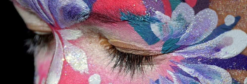 Make Up, Rouged Face, Close, Eye, Pink
