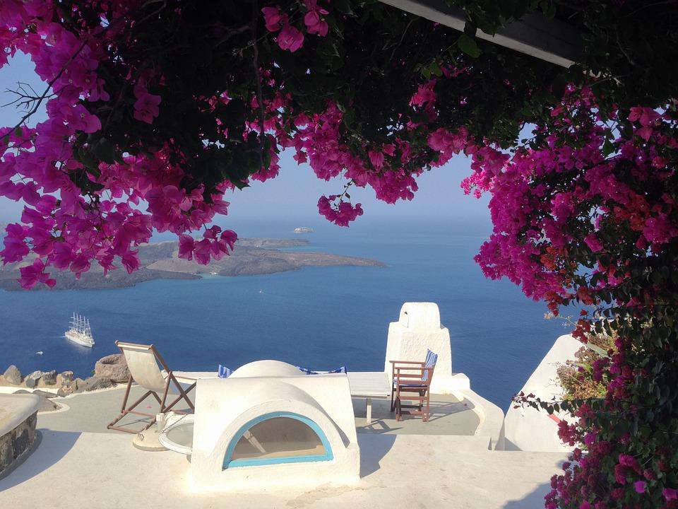 Île, Grece, Santorin, Fleurs, Grèce, Bleu, Voyage, Mer