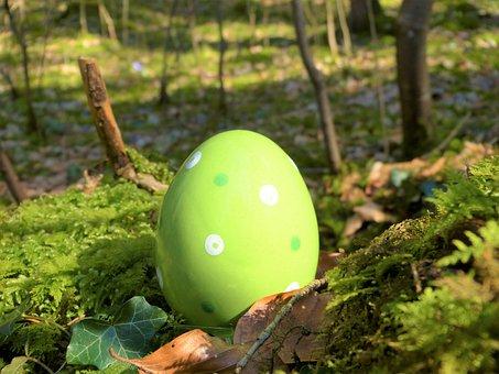 Easter Egg, Ceramic, Green, Forest, Moss
