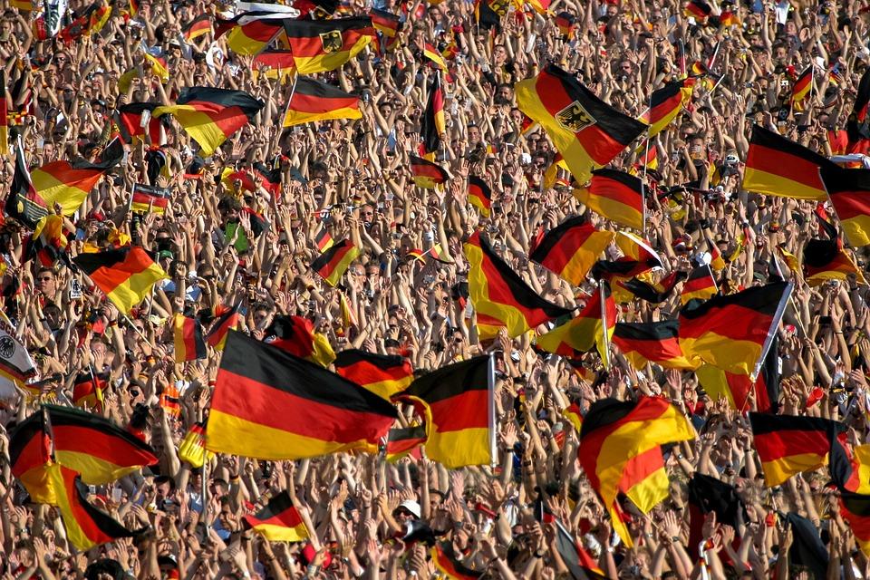 Menschenmenge, Fußball, Deutschland, Flagge