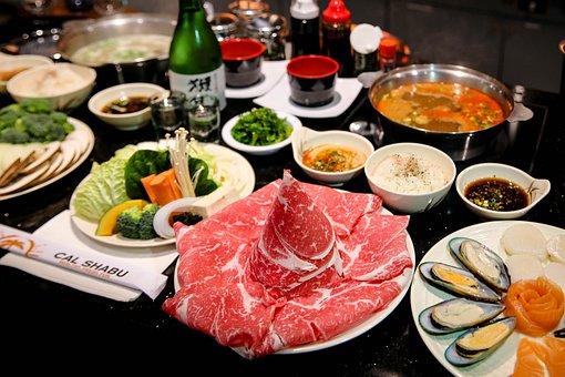 しゃぶしゃぶ, 日本, 食品, 料理, 夕食, 新鮮な, アジア, 鍋料理