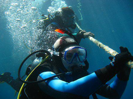 Underwater The Descent Rope Sea Red Sea Di