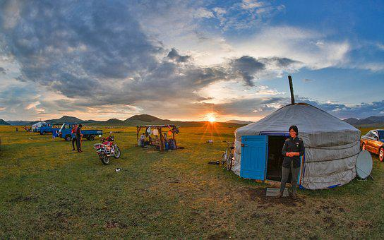 Nomade, Mongolie, Coucher De Soleil