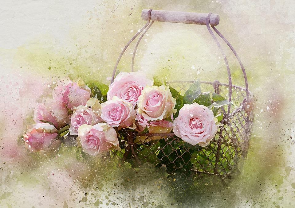水彩バラとバスケット, Castleguard, ローズ, ピンクのバラ, 母の日のバラ, 母の日, ピンク