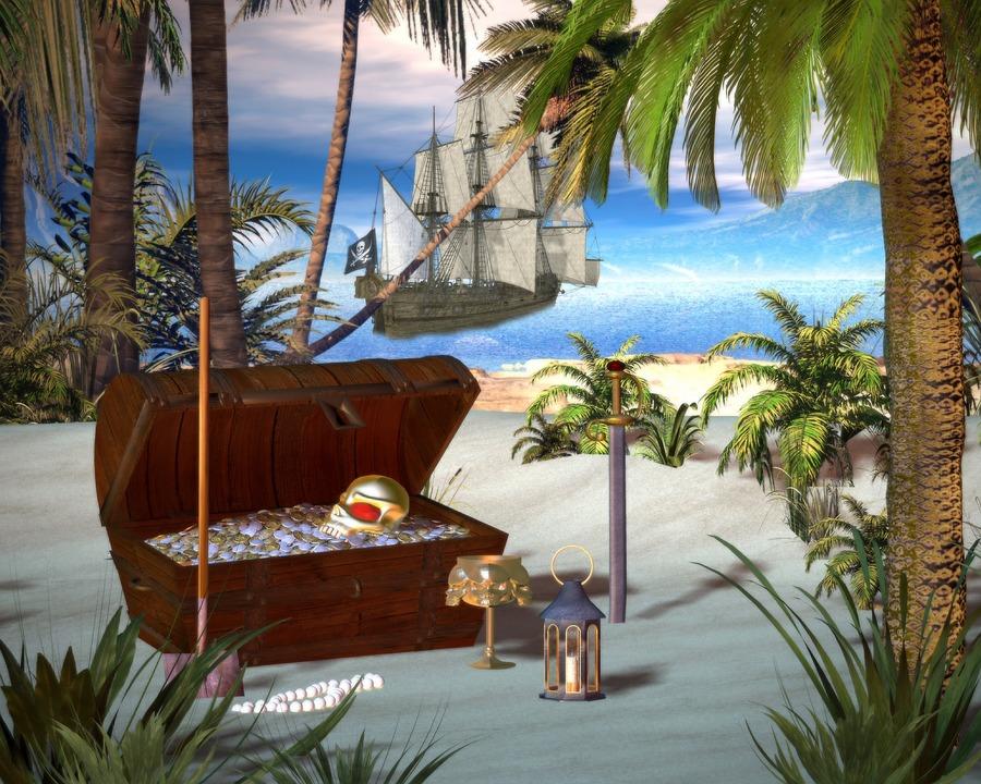 Pirate, Treasure Chest, Beach, Treasure, Chest, Buried