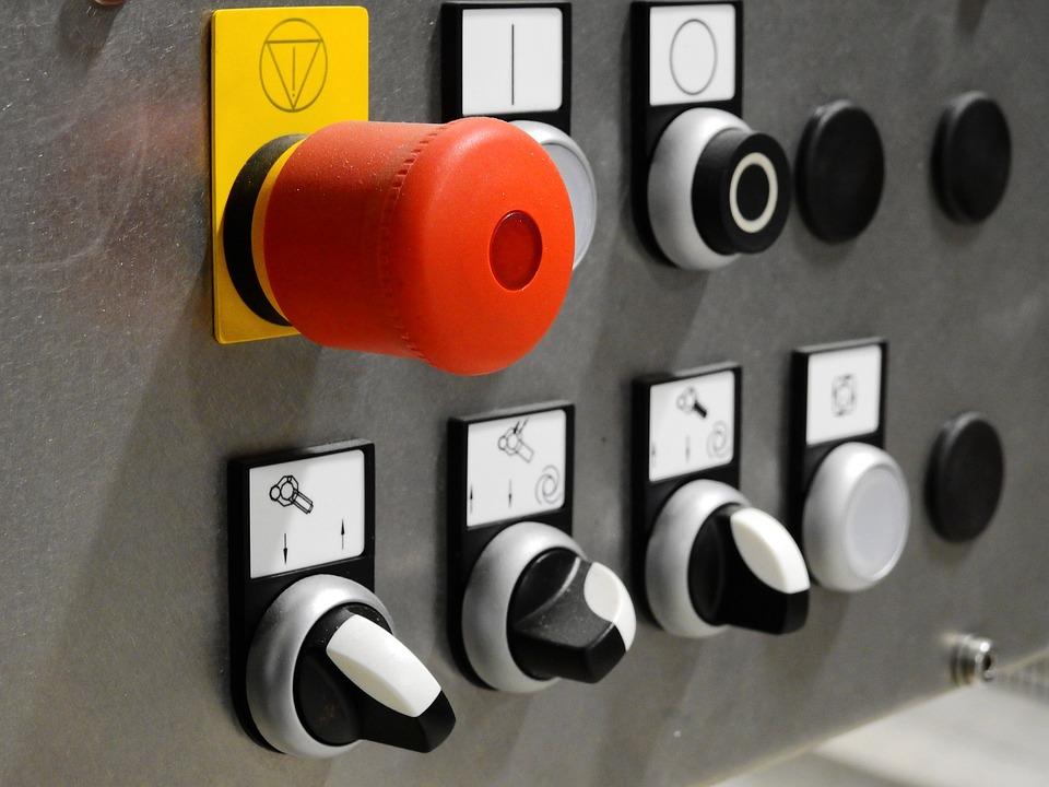 技術, Anlagentechnik, 工場, コントロール, 制御卓, コントローラ, スイッチ, ボタン