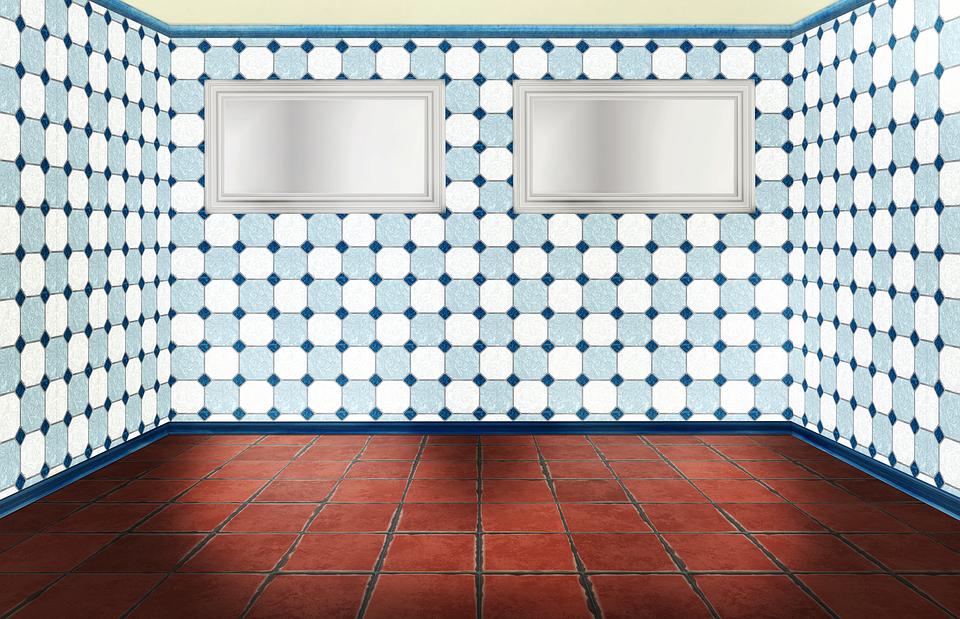 room empty interior ground window tiles red
