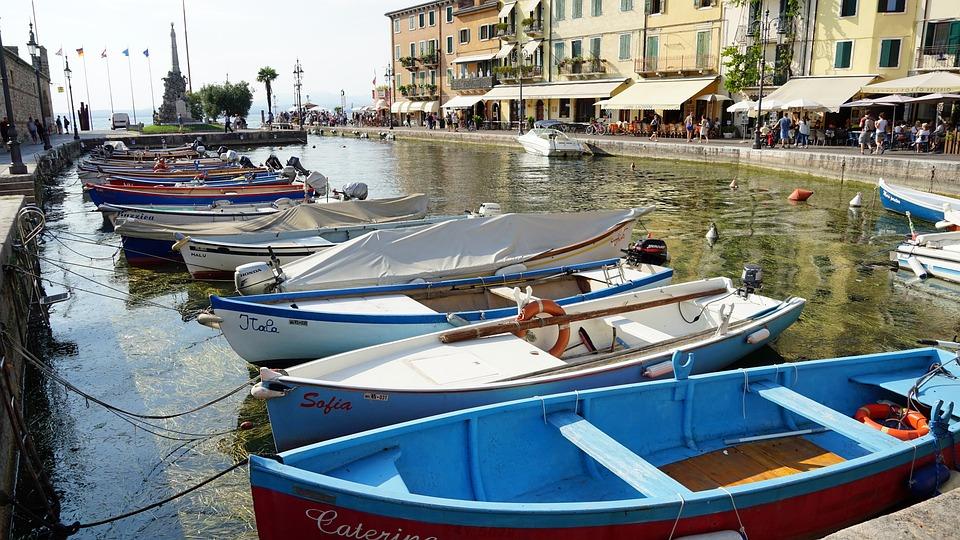 Lazise, Garda, Italy, Facades, Boats, Fishing Boats