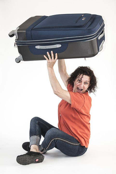 Suitcase, Luggage, Women, Orange, Happiness, Move