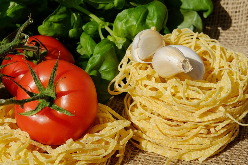 Noodles, Tagliatelle, Pasta, Raw, Tomatoes