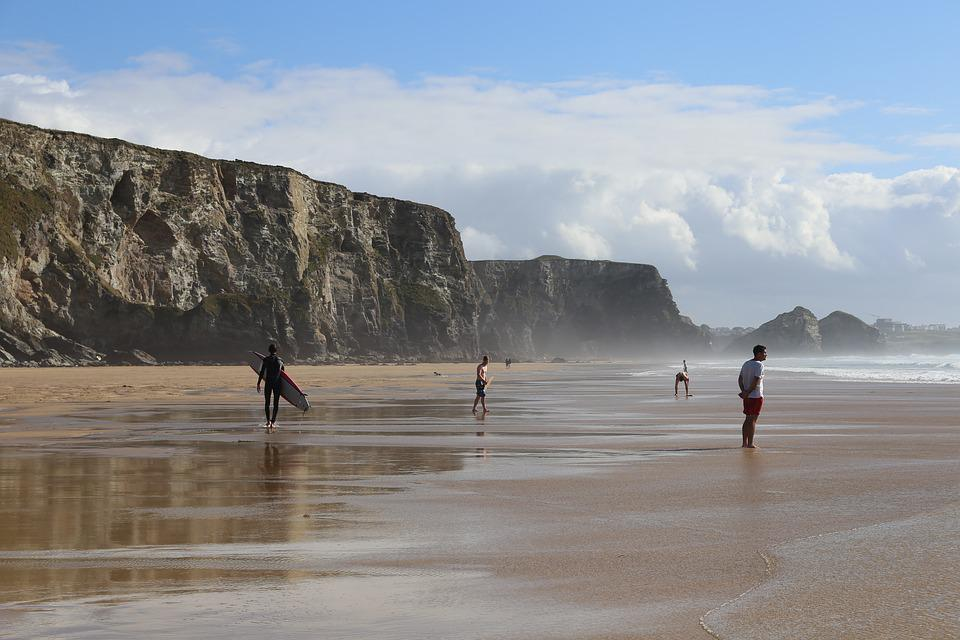 Cliffy beaches in Watergate Bay