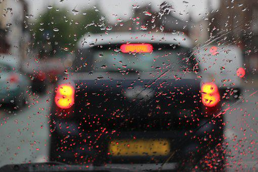 Auto, Regen, Düster, Regentropfen