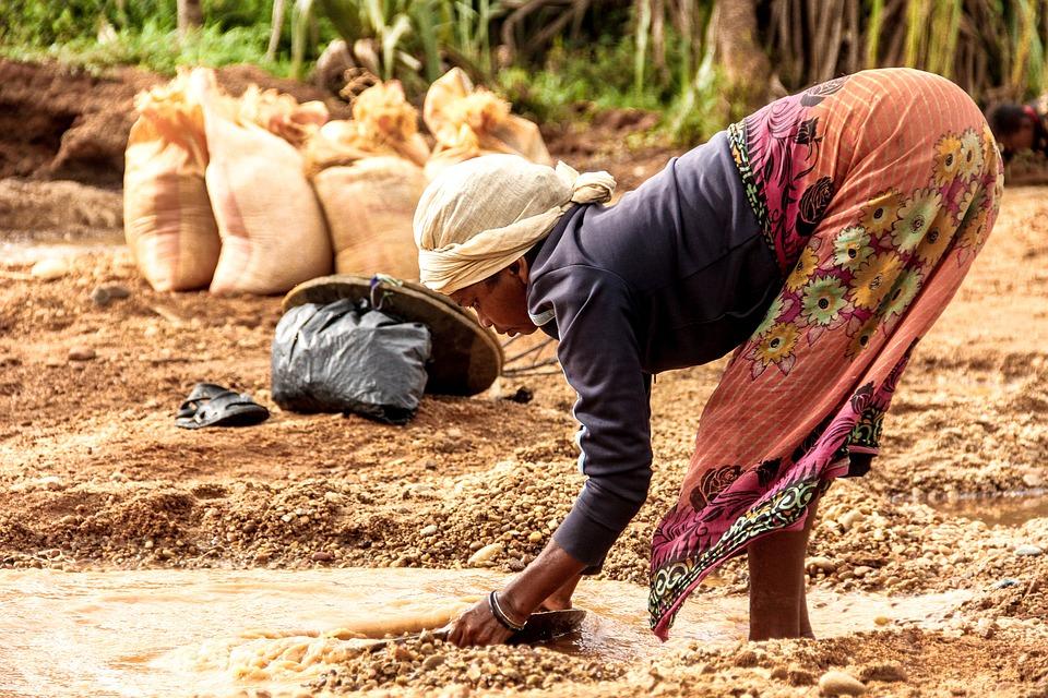 Femme, Afrique, Eau, Madagascar, Or, Rivière