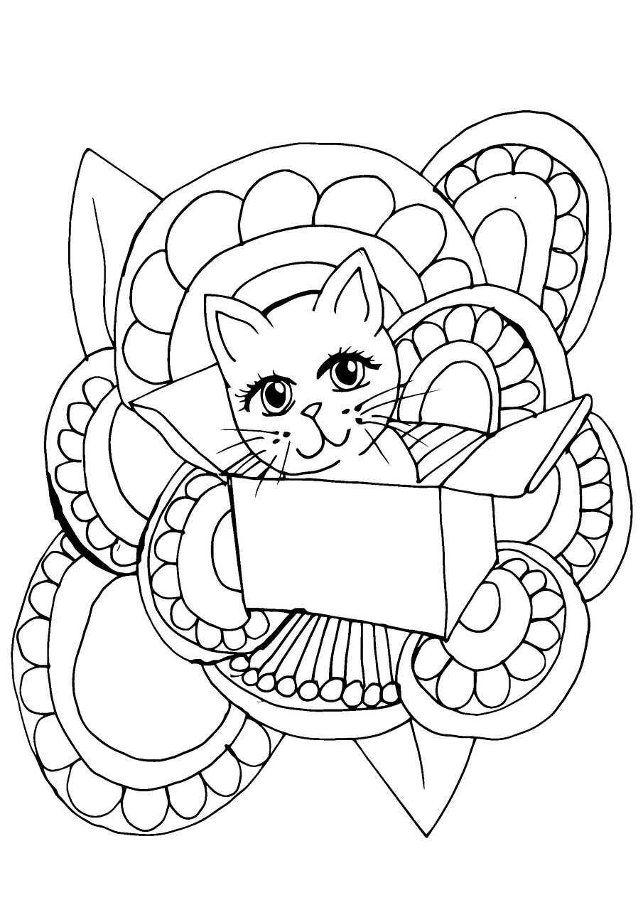 Sevimli Kedi Boyama Sayfasi Pixabay De Ucretsiz Resim