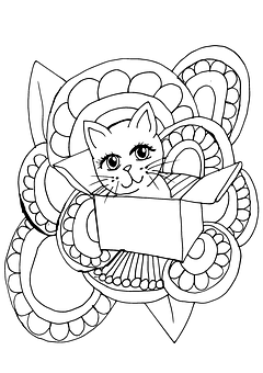 Cute Cat Coloring Page Design