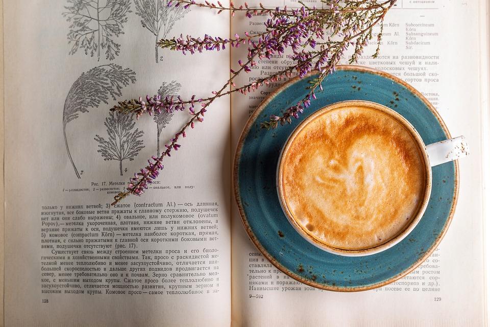 Café, livre, fleurs