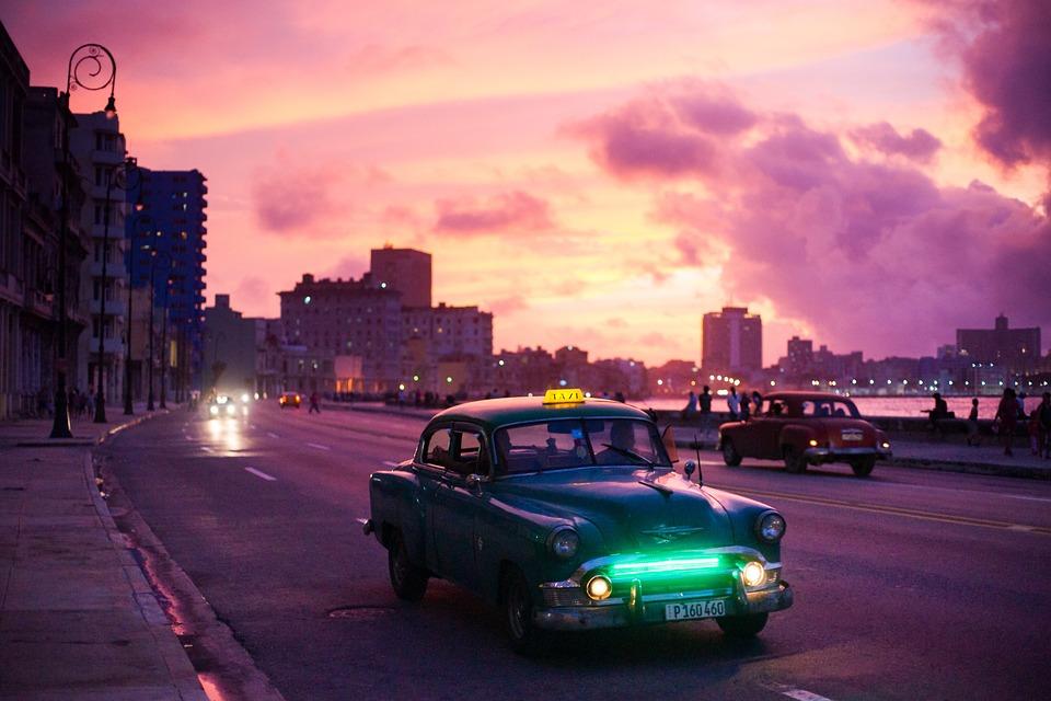 Hawana, Samochód, Noc, Sunrise, Podróży, Turystyki