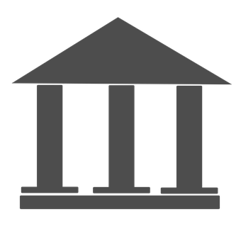 A drawing of sliding roofs on both sides of a building made up of 3 pillars on a solid foundation depicting a bank