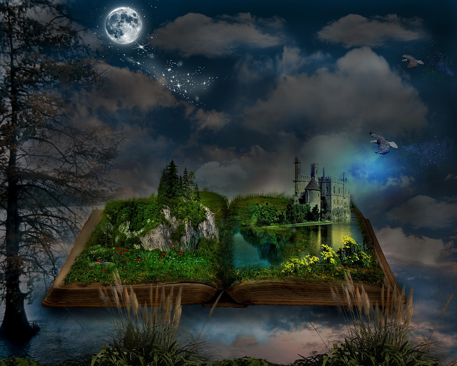 Book, Manipulation, Nature, Fantasy, Old, Clouds
