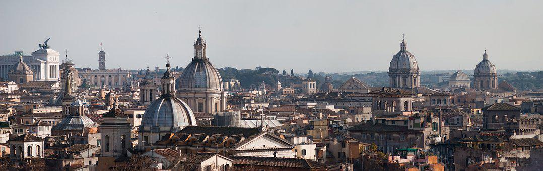 Panorama, Rome, Italy, Church, Dome