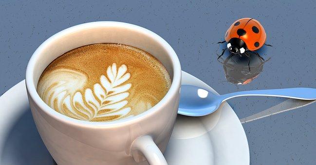 甲虫, コーヒー, カップ, クレマ, コーヒーの泡, Milchschaum