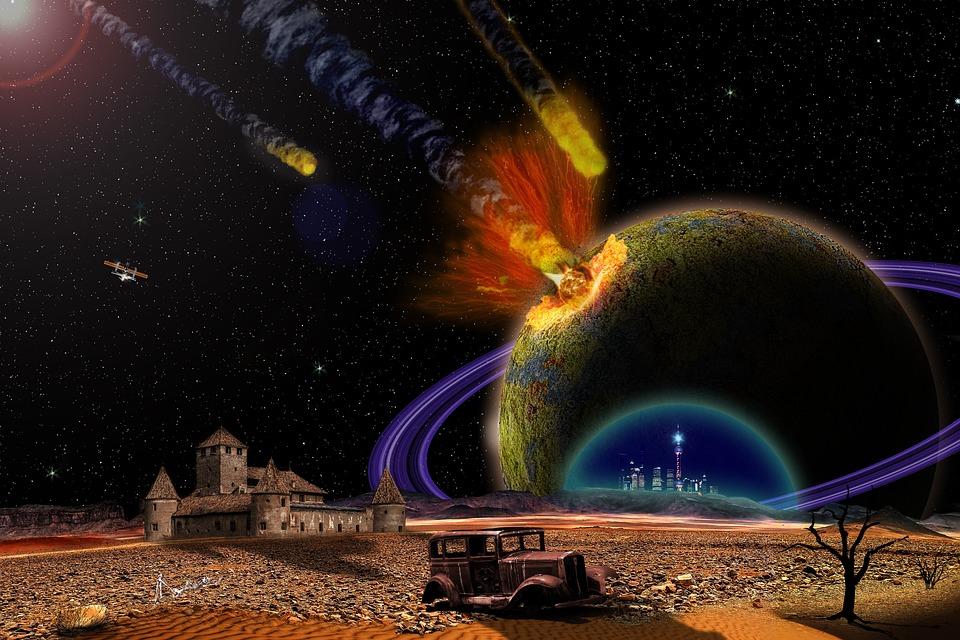 Admoria, ハルマゲドン, 爆発, スペース, 惑星, 隕石, 破壊, 破片, 影響, 火の玉