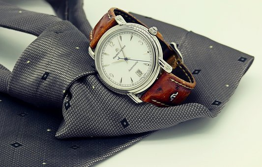 Wrist Watch, Clock, Tie, Mens, Man