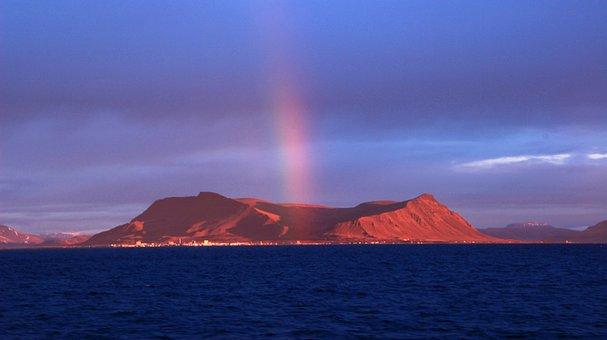 Iceland, Volcano, Rainbow, Evening