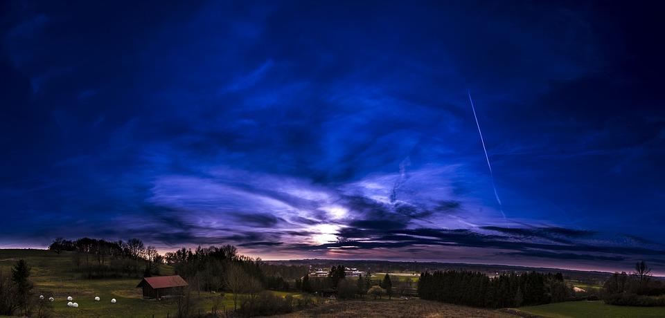 Сансет, Панорама, Небо, Пейзаж, Природы, Облака