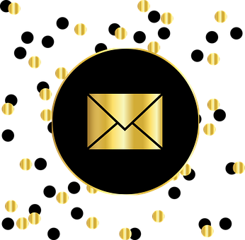 Email social media showing a golden envelope in a dark circle