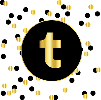 Black circle with t written inside it in gold to signify tumblr and around it tiny black and golden circles