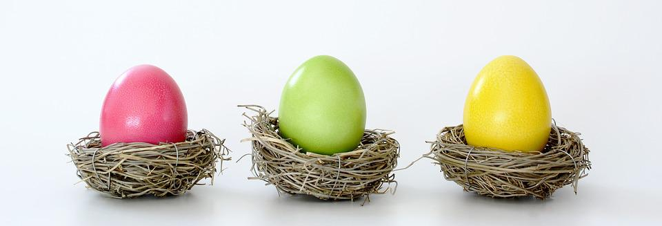 Osternest, Nest, Ostereier, Bunt, Ostern, Dekoration