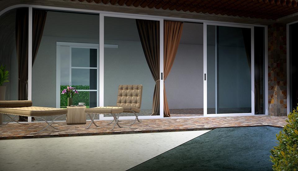 ヴィラ, テラス, 庭, 家具, レンダリング, 照明, 建築様式, 豪華です, メディテラン