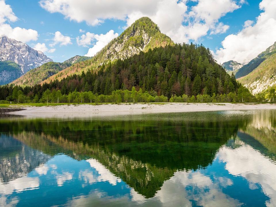Jasna Озеро, Словения, Зеркальное Отображение, Горы
