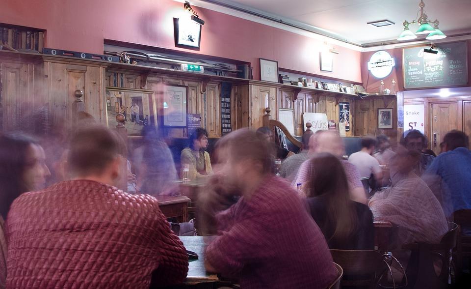 Pub, People, Bar, Woman, Drink, Clothing, Modern