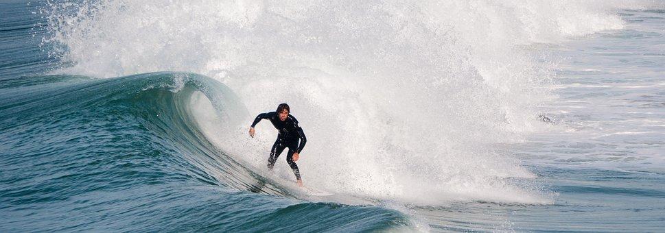 Surfer, Surfing, Ocean, Summer, Wetsuit