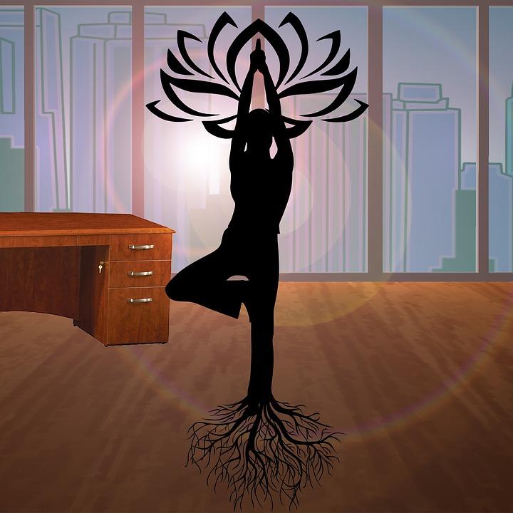 Office, Yoga, Woman, Silhouette, Lotus, Desk, Business