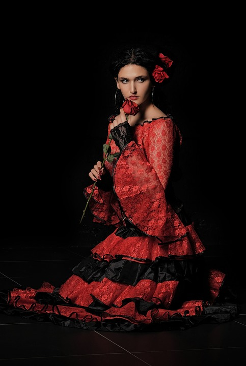 Carmen, Gypsy, Spanish Woman, Dancer, Girl, Rose, Red