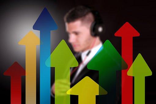 矢印, トレンド, 実業家, 男, 経済, ビジネス, 金融, 方向, オフィス