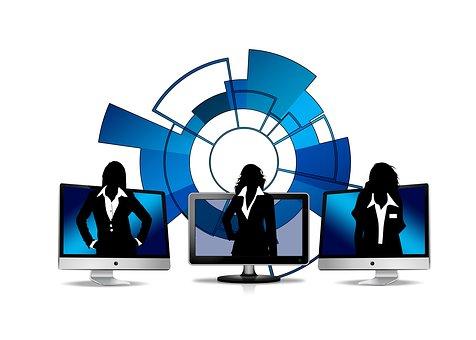 Síť, Ženy, Podnikatelek, Monitor, Body